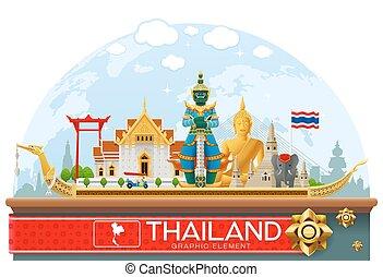 thailand landmark and art background