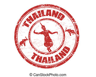 Grunge rubber stamp with silhouette of traditional Thai dancerand the name of Thailand written inside the stamp