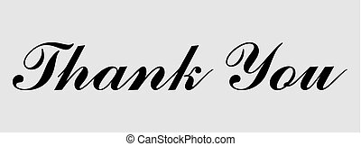 Thank you card text icon. Vector lettering card banner
