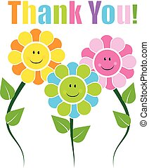 Thank you card with happy faces flowers