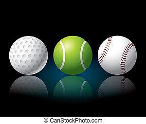 sport balls tennis, golf, baseball.