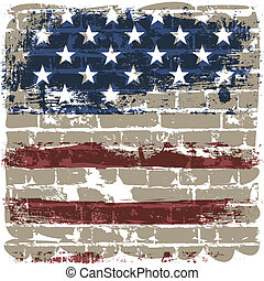 The American flag symbol against a brick wall.