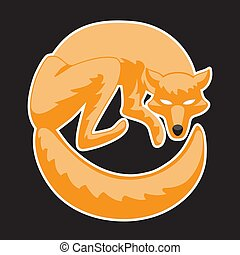 The Fox curled up in a ball stylized against an isolated black background. Vector image