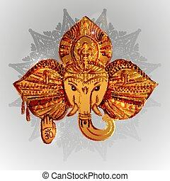 The head of an elephant, the Indian god Ganesh.