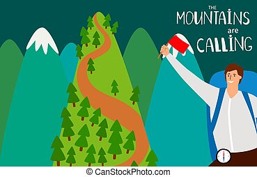 The mountains are calling vector flat background with happy man and mountains