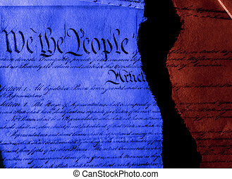 The US Constitution politics ripped in half