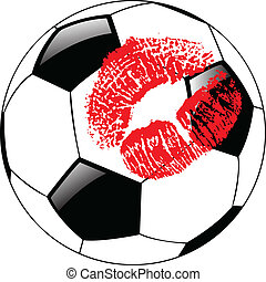 the vector soccer ball with lips