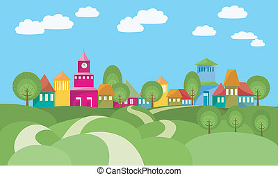 Cartoon illustration with rural landscape - the way between green rolling hills to small village. Vector file is layered EPS8, all elements are grouped and easy to edit.