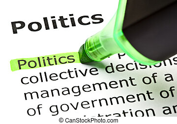 The word 'Politics' highlighted in green with felt tip pen
