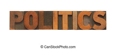 the word politics in old wood type