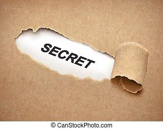 the word secret behind brown torn paper