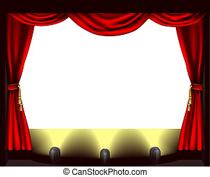 A theatre stage, lights and curtain illustration