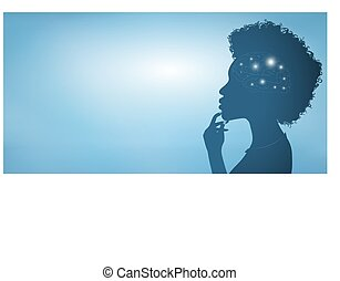 Thinking African American woman silhouette with glowing brain symbol and finger on chin. Concept of intelligence development strategy and solution of a thought. Blue banner copy space