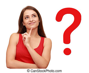 Thinking girl looking up with red question sign near her