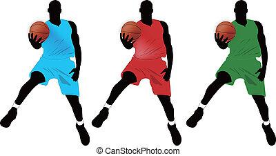 Three basketball player