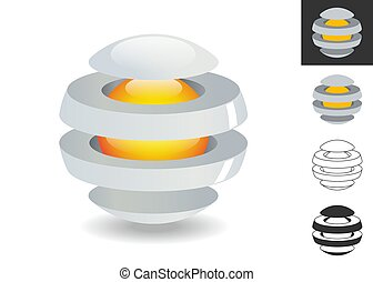 Three dimensional logo, divided sphere with a core. Modern technology design. Vector illustration.