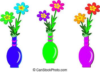 Three Flower Vases