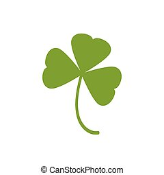 Three leaf clover icon. Green herb Isolated on white.