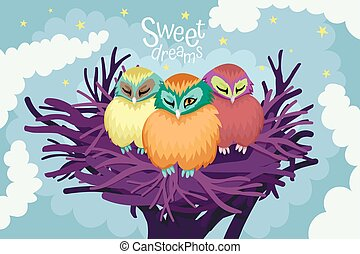 Three owls sleep in a nest, the night sky with clouds and stars