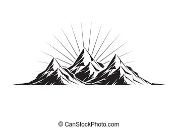 Illustration of three mountain peaks as a silhouette