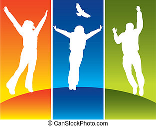 Three young people jumping on a hilltop in colored panels