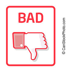 Red thumb down label for bad work or bad quality
