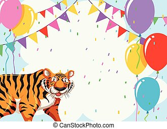 Tiger on party template