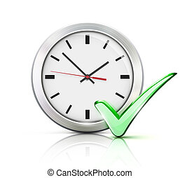 illustration of timing concept with classic office clock and check mark icon isolated on white background