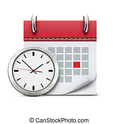 illustration of timing concept with classic office clock and detailed calendar icon