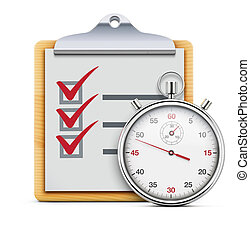 Vector illustration of timing concept with classic stopwatch, clipboard and check list