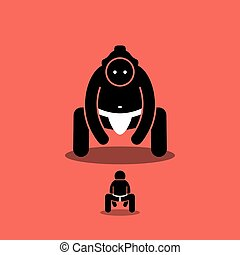 Vector artwork depicts a small person ready to fight with a large giant sumo. Concept of challenge, boss fight, difficult level, and underdog.