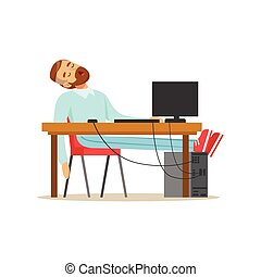 Tired businessman sleeping on his chair in the office, exhausted office worker relaxing vector Illustration
