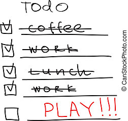 To Do List - time to play. Vector illustration