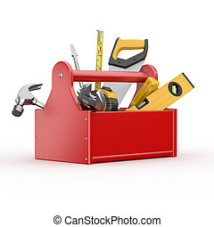 Toolbox with tools. Skrewdriver, hammer, handsaw and wrench. 3d