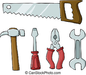 Tools on a white background, vector illustration