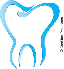 Tooth stylized with shadows vector eps10
