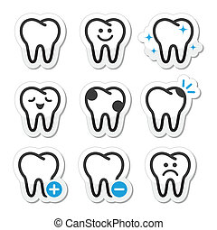 Stomatology, dentist concept - tooth black and blue labels isolated on white