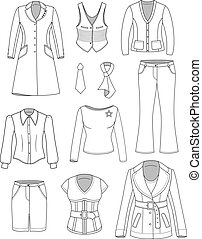 Top manager woman clothing set isolated on white