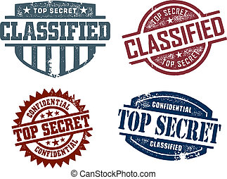 Vintage style top secret military stamps.