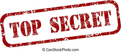 Red rubber stamp - grungy illustration with text Top Secret. Government secrecy stamping.