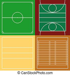 Top view of sport fields set