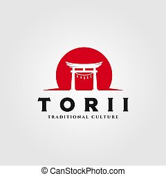 torii gate logo vector illustration design, japanese religion symbol illustration