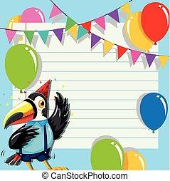Toucan on birthday template