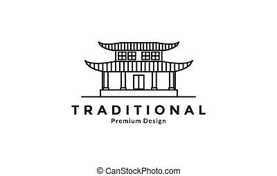 traditional culture japan home lines  logo design vector icon symbol graphic illustration