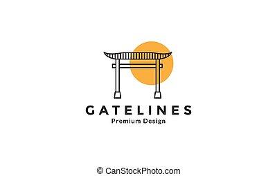 traditional culture japan torii gate lines  logo design vector icon symbol graphic illustration