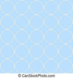 Traditional quatrefoil lattice pattern.
