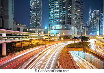 traffic night in downtown area, hong kong