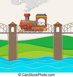 Train riding over the bridge