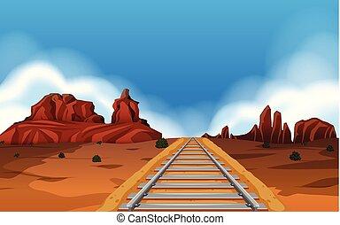 Train track in wild west background