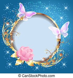 Transparent butterflies and pink rose with decorative golden round frame